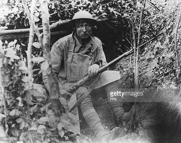 An American soldier in a trench during World War I circa 1918