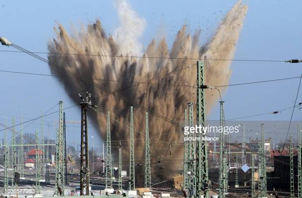An American WW2 bomb is detonated in the grounds of the railway station in Halle Germany 19 February 2015 It was not possible to defuse the bomb as...