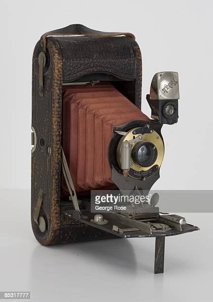 An Americanmade Eastman Kodak No 1A Folding Special Pocket camera with red bellows is seen in this 2009 Healdsburg California studio photo