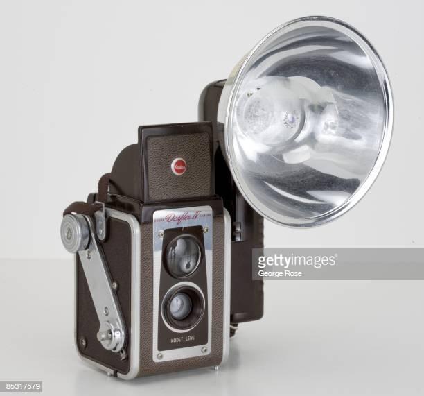 An Americanmade Kodak 'Duraflex IV' 620 film twin lens reflex rangefinder camera with flash attachment is seen in this 2009 Healdsburg California...