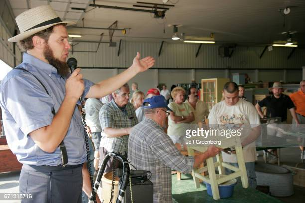 An Amish auctioneer at Shipshewana Auction House