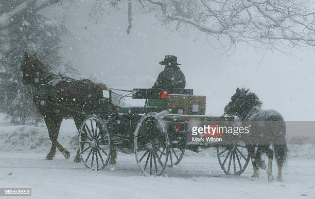 An Amish man rides a horse drawn buggy through a blizzard on February 10 2010 in St Mary's Md The St Mary's is was hit with a second snow storm after...
