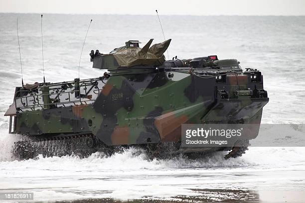 An amphibious assault vehicle drives toward Onslow Beach.