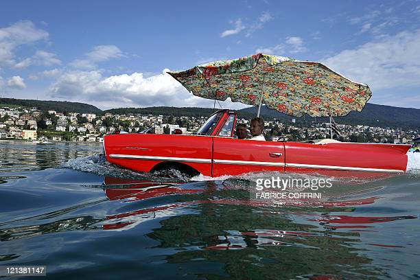 An amphibious car motors across Lake Neuchatel on August 18 2011 near SaintBlaise during the 26th meeting of amphibious car This week owners of more...