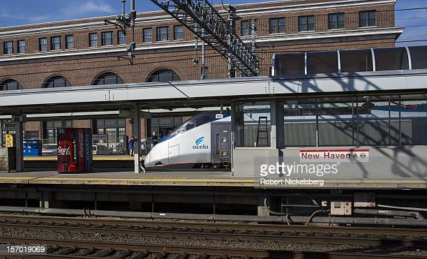 An Amtrak Acela express train on November 23 2012 heads to Washington DC's Union Station in New Haven Connecticut