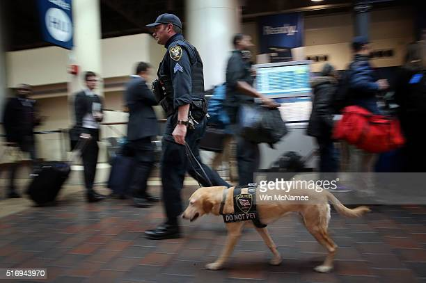 An Amtrak police K9 unit patrols Union Station March 22 2016 in Washington DC Security has been increased around the city after bombings in Brussels...