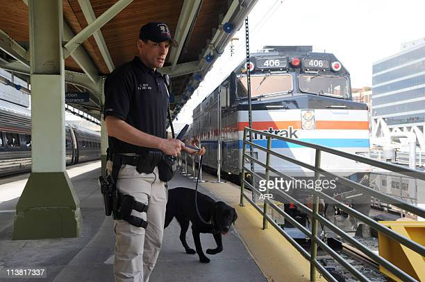 An Amtrak police officer and a sniffer dog patrol a platform at Union Station in Washington on May 6 five days after alQaeda head Osama bin Laden was...