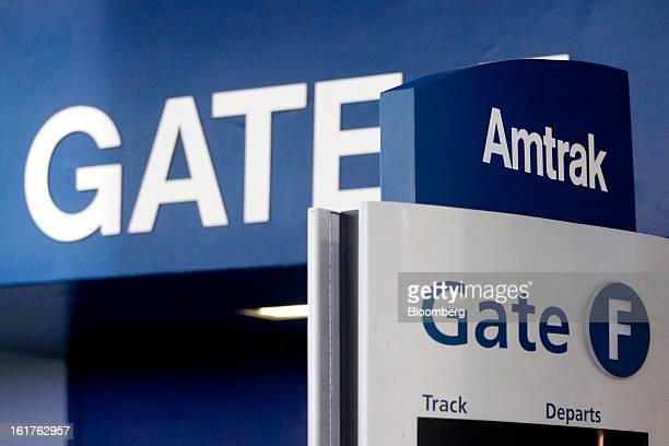 59648a2c63 An Amtrak sign reads Gate F at Union Station in Washington DC US on Friday  Feb