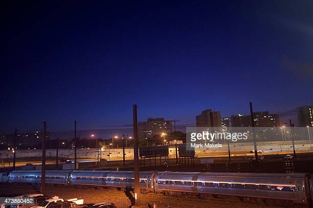 An Amtrak train arrives at 30th Street Station before 5am as northbound service resumes with a 553am departing train after last week's derailment on...