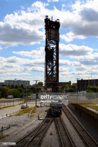 An Amtrak Train makes it's way on the tracks in Chicago Illinois on AUGUST 23 2012