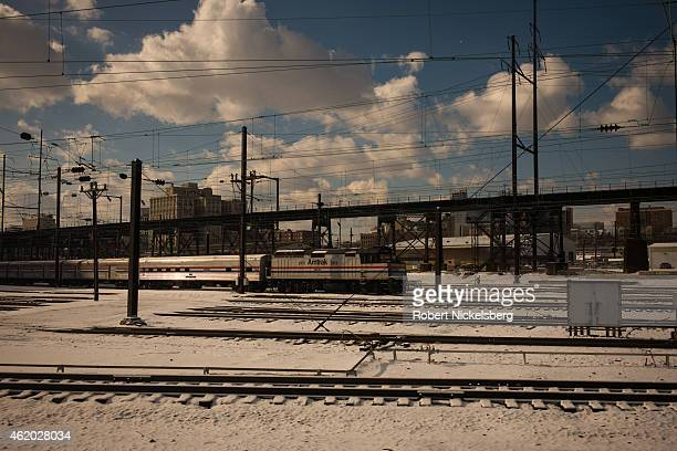 An Amtrak train pulls out of the 30th Street Station January 7 2015 in Philadelphia Pennsylvania
