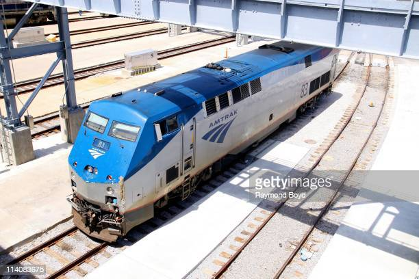 An Amtrak train sits in the Metra train station yard in Chicago Illinois on MAY 01 2011