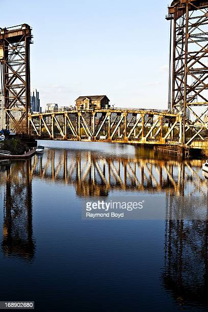 An Amtrak vertical lift bridge sits over the Chicago River in Chicago Illinois on MAY 01 2013