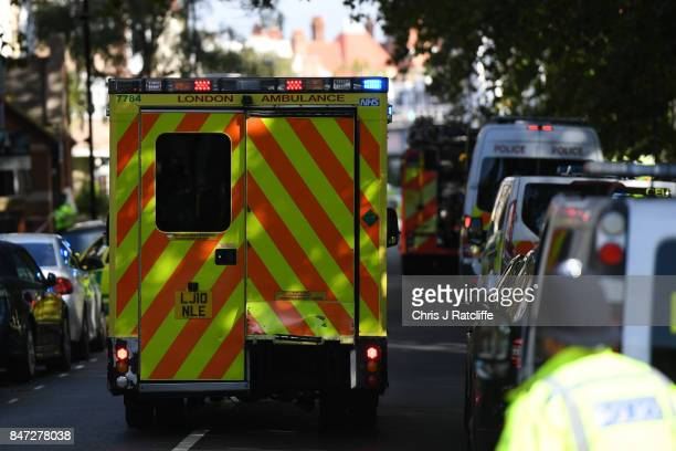 An amublance makes it's way to Parsons Green Underground Station on September 15 2017 in London England Emergency services are investigating reports...