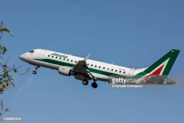 An An Embraer E175 passenger aircraft operated by Alitalia takes off from Linate airport on October 24 2018 in Milan Italy Alitalia the flag carrier...