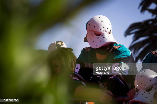 An Anaheim Ducks fan waits for players to arrive prior to opening night against the Detroit Red Wings on October 8 2018 at Honda Center in Anaheim...