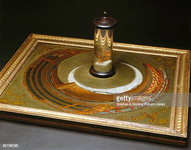 An anamorphic painting a composition that can only be viewed with a special mirror that restores the deformed image This example was originally...