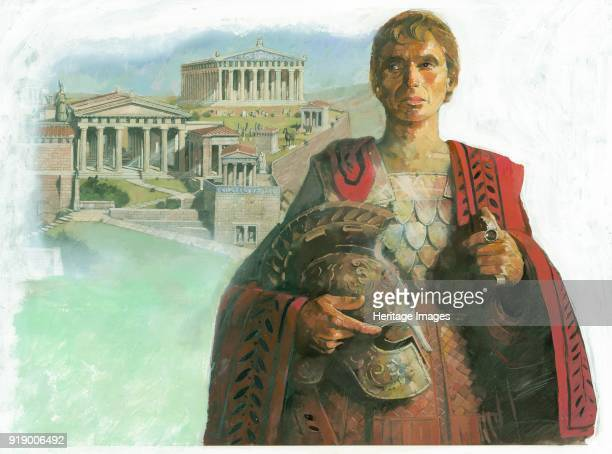 An ancient Greek warrior and/or statesman possibly Pericles with the Acropolis in Athens in the background 1990s