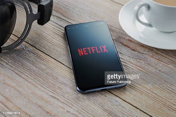 An Android smartphone with the Netflix logo visible on screen, taken on February 7, 2019.