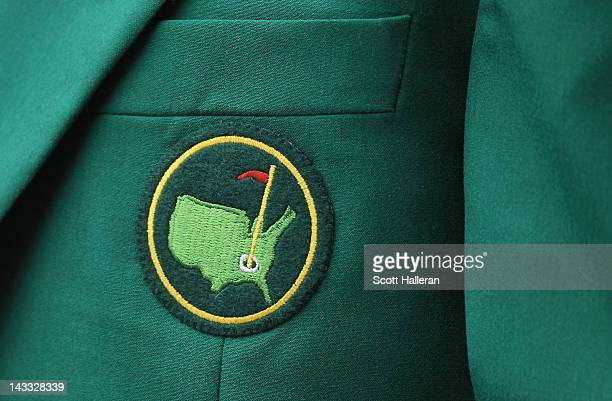 An ANGC member's green jacket is seen during a practice round prior to the start of The Masters at Augusta National Golf Club on April 3 2012 in...