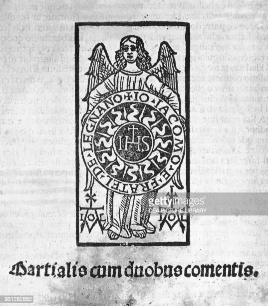 An angel holding the glowing host in his arms with the Christogram IHS at the center and the name of the editor illustrated frontispiece for...