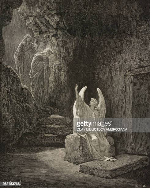 An angel in the sepulchre announces to the women that Jesus has risen engraving by Gustave Dore from The Holy Scriptures containing the Old and New...