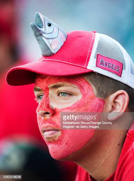 An Angels' fan shows his support for Mike Trout before game 1 of the American League Division Series against the Kansas City Royals at Angel Stadium...