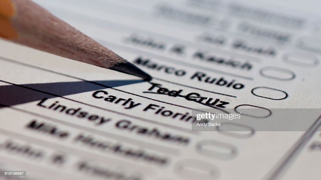 An angery voter crossesTed Cruz off primary ballot : Stock Photo