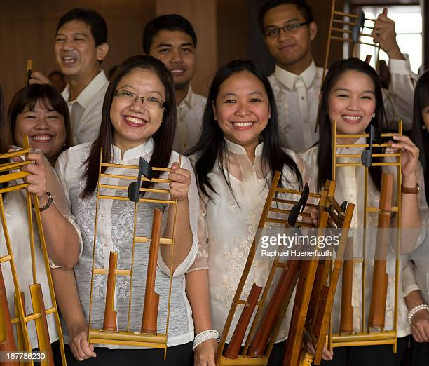 An angklung group pictured with their instruments on February 07 2013 in Manila the Philippines