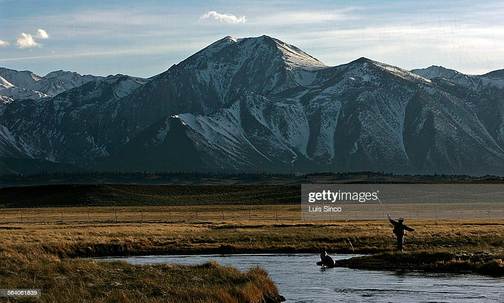 An angler casts his line into the Owens River near Mammoth Lakes in