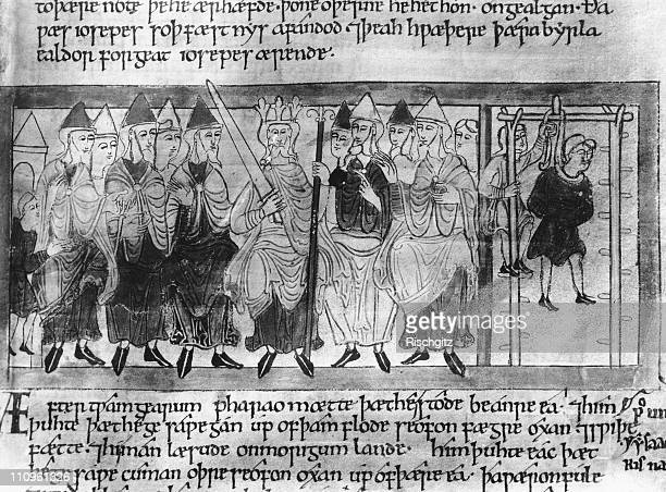 An Anglo-Saxon king with his Witan or Witenagemot, a council of elders, having just passed the death sentence on a man , 11th century. An...