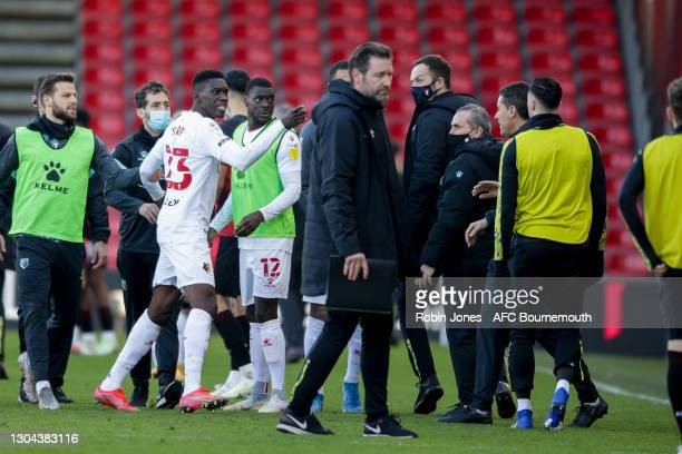 An angry Ismaila Sarr of Watford on the final whistle during the Sky Bet Championship match between AFC Bournemouth and Watford at Vitality Stadium...