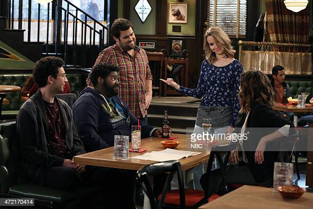 UNDATEABLE An Angry Judge Walks Into A Bar Episode 207 Pictured Rick Glassman as Burski Ron Funches as Shelly David Fynn as Brett Bridgit Mendler as...