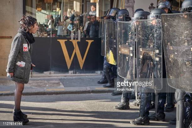 An angry protestor confronts French Riot Police after peaceful demonstrations which were part of National General Strike along the Rue de Rivoli...