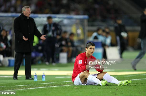 An angry Sir Alex Ferguson the head coach / manager of Manchester United after Cristiano Ronaldo was fouled in the second half