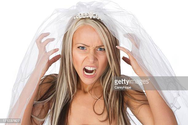 an angry woman wearing a veil, depicting a brides ills - bride stock pictures, royalty-free photos & images