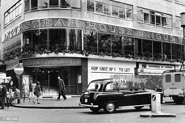 An Angus Steak House on the corner of Leicester Street in London's Leicester Square, 26th April 1972.