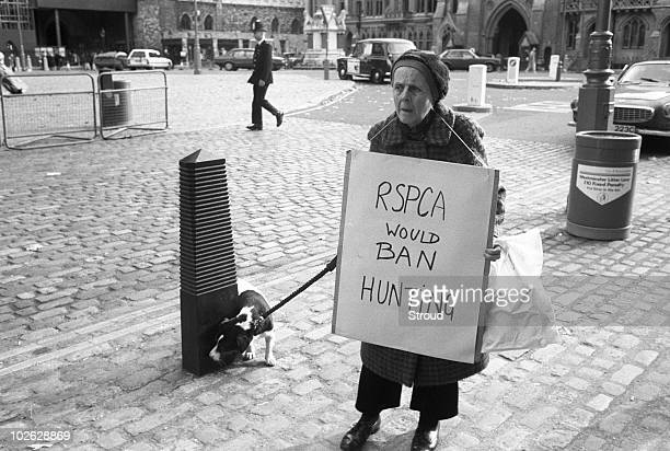 An animal rights protester wearing an RSPCA hunting ban placard in London England on October 30 1988
