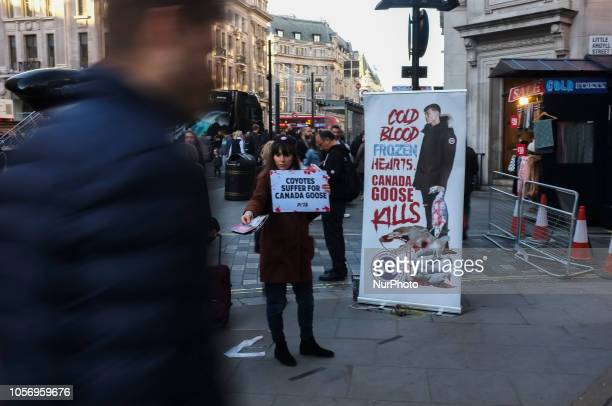 An animalist demonstration took place outside Regent Street's Canada Goose London on November 3 2018 Canada Goose which makes luxury winter clothing...