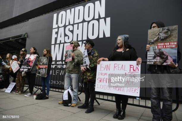 An animalist protest takes place outside the BFC Showspace in Central London on September 15 2017 The demonstrators protested against the animal...
