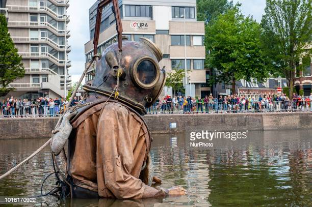 An animated marionette of French street theatre company Royal de Luxe parades through the streets in the European Capital of Culture 2018 Leeuwarden...