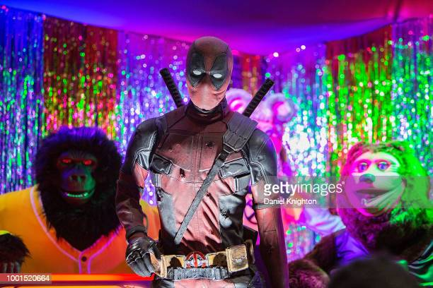 An animatronic Deadpool hosts Deadpool's Super Duper Dance Party during Preview Night at ComicCon International at San Diego Convention Center on...