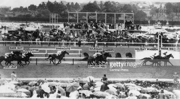 An annotated view of the finish of the 1975 Melbourne Cup race at Flemington race course in Melbourne, Australia, 4th November 1975. Think Big ,...