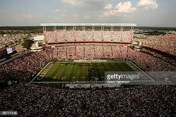 An announced crowd of over 82000 watches a game between the South Carolina Gamecocks and the Alabama Crimson Tide on September 17 2005 at...