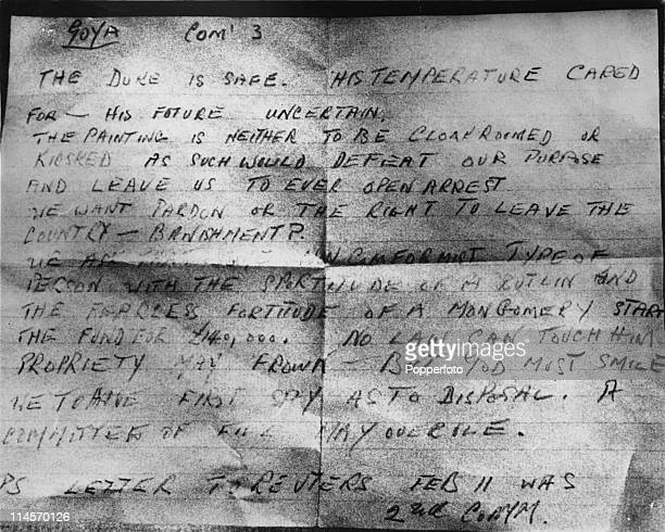 An anonymous letter received by the Exchange Telegraph news agency after the theft of Francisco Goya's painting 'Portrait of the Duke of Wellington'...