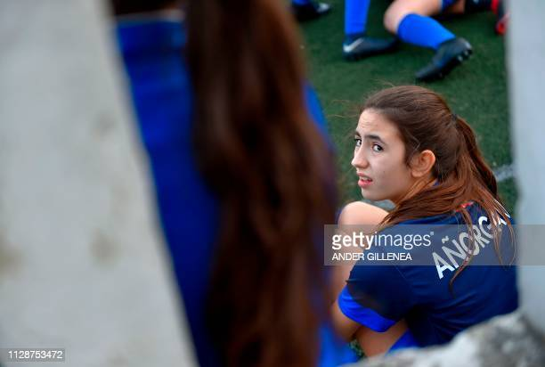 An Anorga KKE football school' player attends a training session in the Spanish Basque city of San Sebastian on February 20 2019