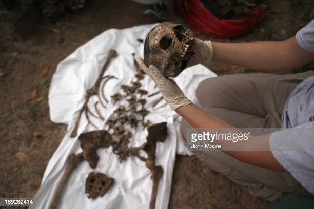 An anthropology student inspects the bones of a suspected undocumented immigrant after they were exhumed from a gravesite on May 22 2013 in...