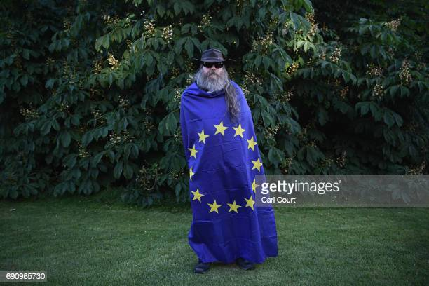 An anti Brexit protester poses for a photo ahead of the BBC Leader's Debate on May 31 2017 in Cambridge England Six Leaders of the Seven political...