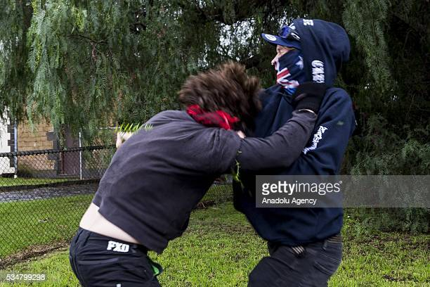 An Anti Fascist and True Blue Crew member clash during a 'Say No To Racism' protest and a counter 'Stop the Far Left' rally in Coburg Melbourne...