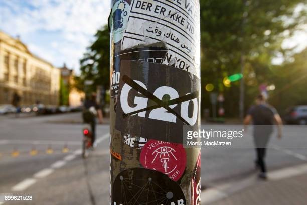 An anti G20 sticker is seen on June 21 2017 in Hamburg Germany Hamburg will host the upcoming G20 summit from July 78 with venues to include the...